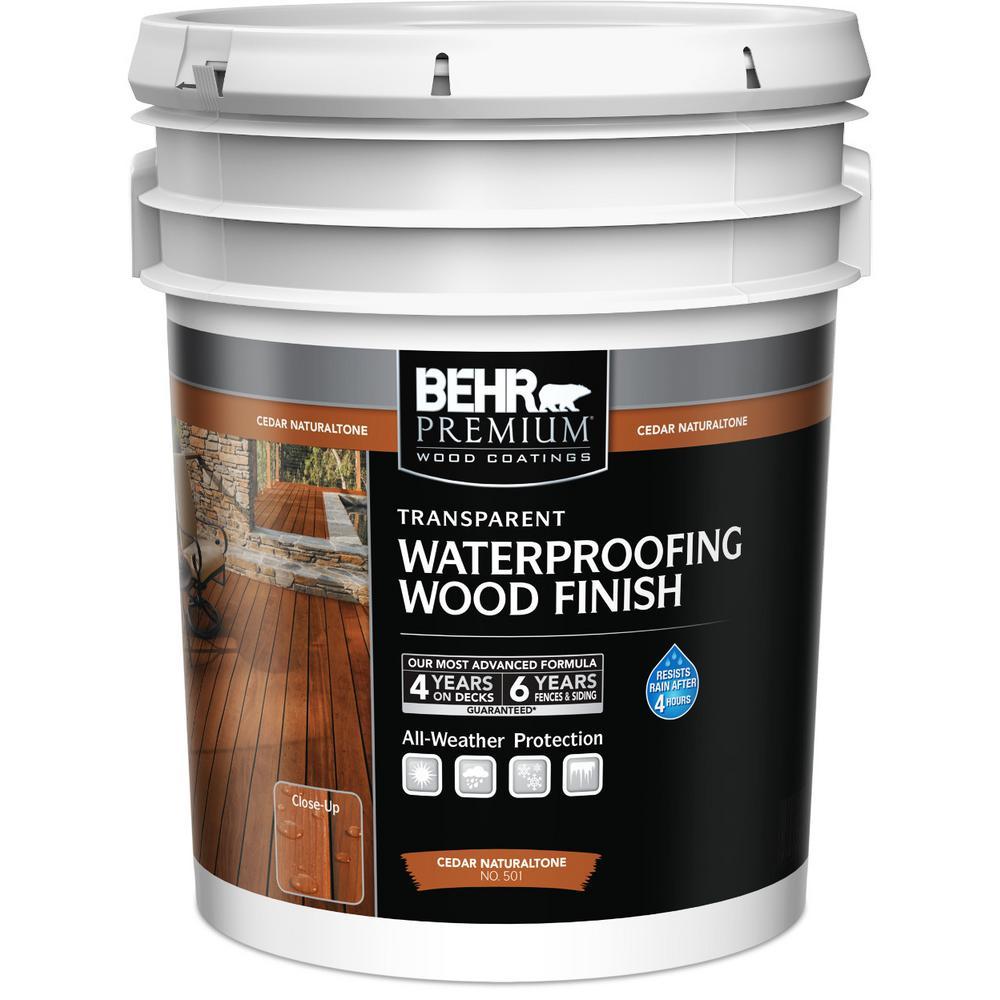 Behr premium 5 gal t 533 cedar naturaltone transparent waterproofing exterior wood finish for Home depot exterior wood stain