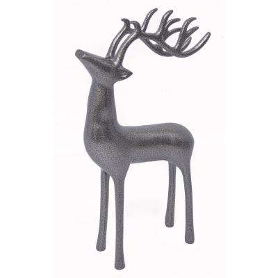 18 in. Aluminum Decorative Reindeer in Antique Silver