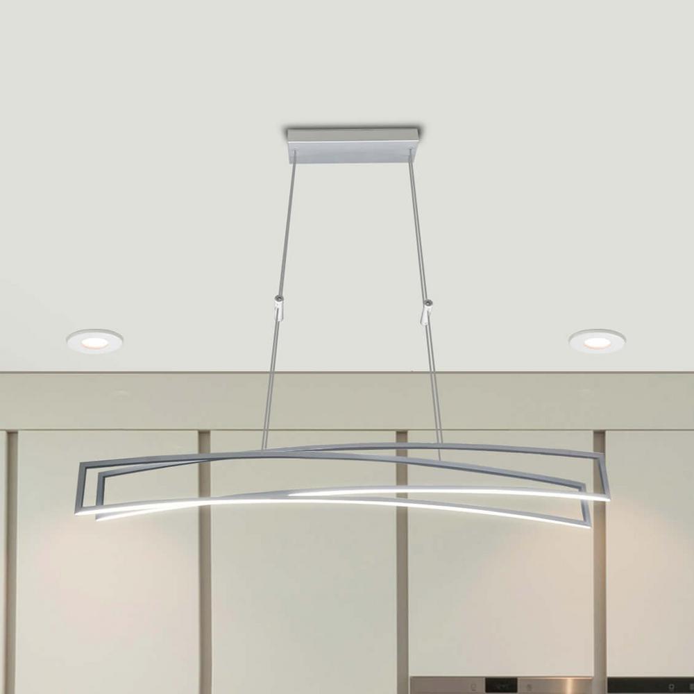 Sirius 77-Watt Silver Integrated LED Linear Chandelier