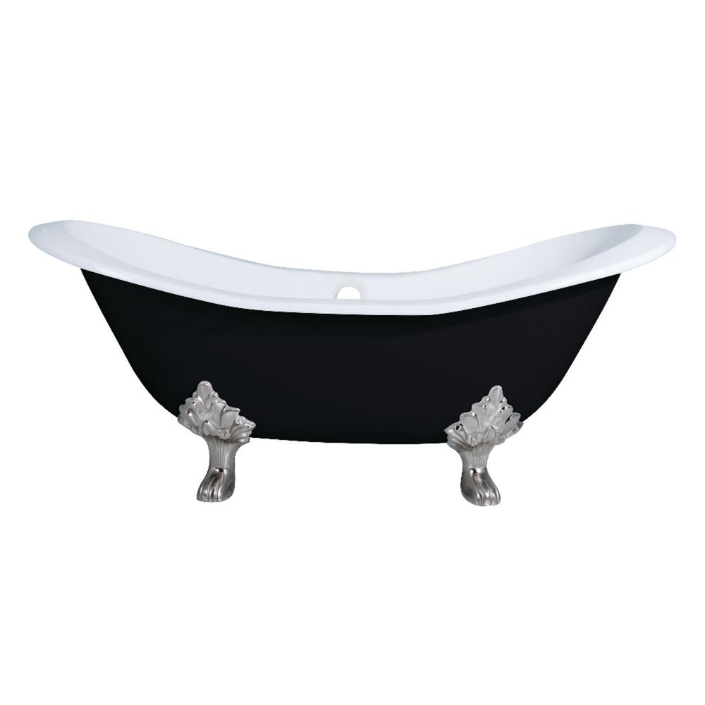 Aqua Eden 6 Ft Cast Iron Brushed Nickel Claw Foot Double Slipper Tub In Black