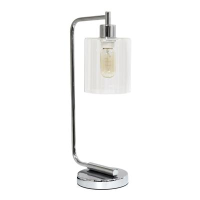 18.75 in. Bronson Antique Style Chrome Industrial Iron Lantern Desk Lamp with Glass Shade