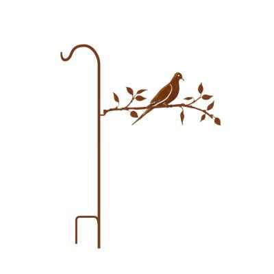 50 in. Tall Yellowish Brown Rust Steel Shepherd's Hook with Dove on Branch