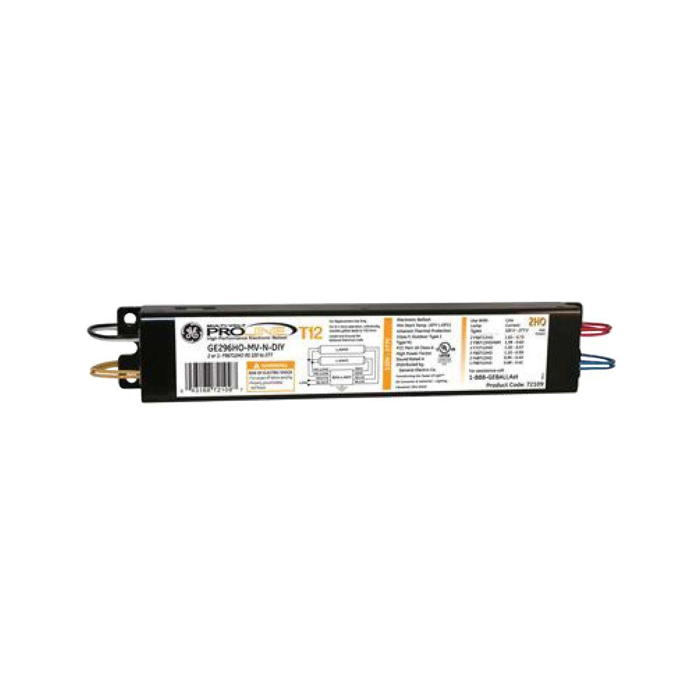 GE 120 to 277-Volt Electronic Ballast for Hi-Output 8 ft. 2-Lamp T12 ...