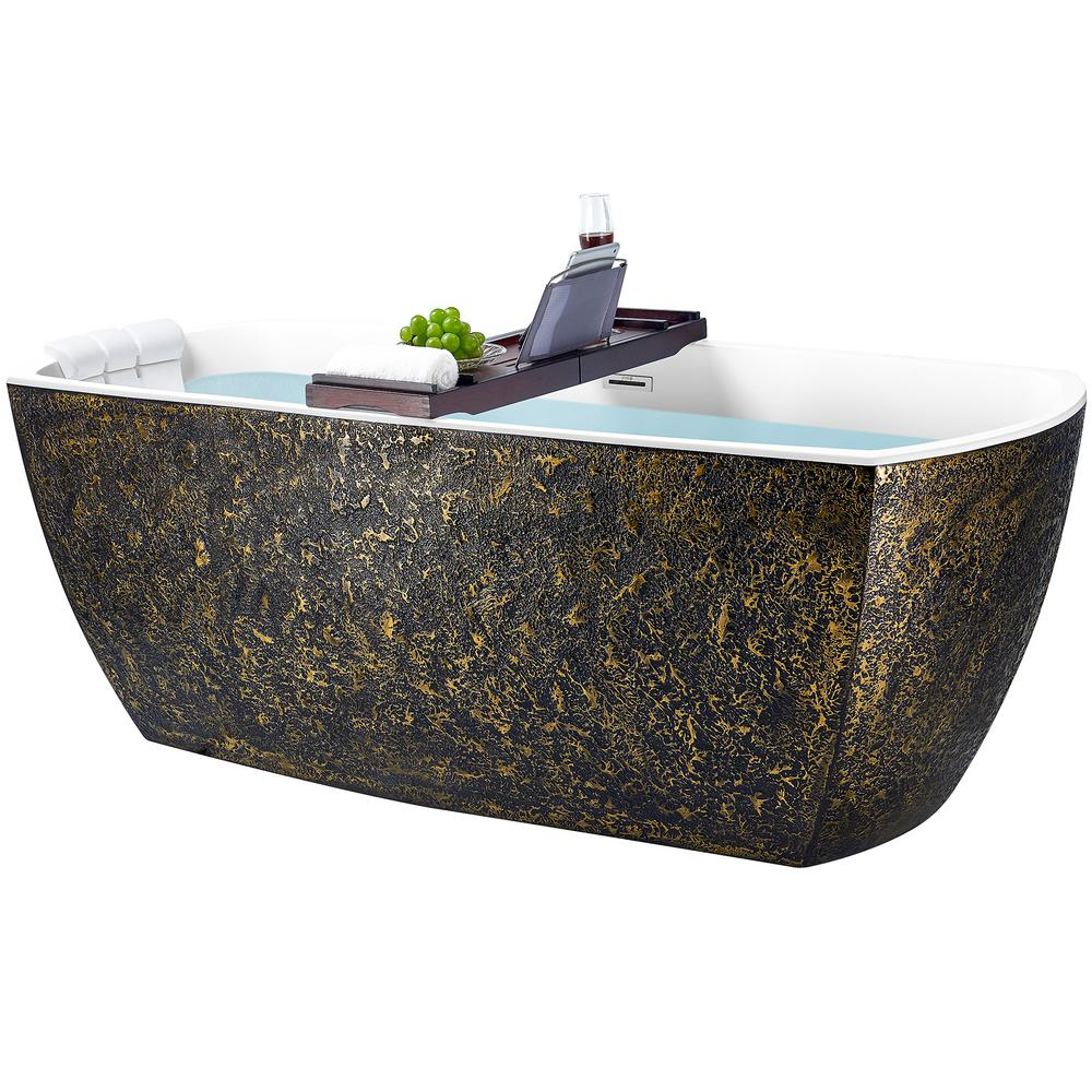 AKDY Freestanding 69 in. Acrylic Flatbottom Bathtub Modern Stand Alone Tub Luxurious SPA Tub in Black and Gold, Gloss Black and Gold was $1999.0 now $1299.99 (35.0% off)