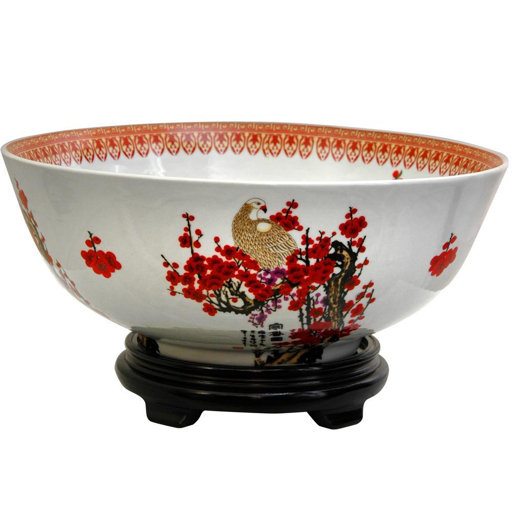 Pennington 10 In. White Ceramic Bamboo Low Bowl-100523131