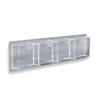 Acrylic 4-Pocket Horizontal Wall Mount Brochure Holder (2-Pack)