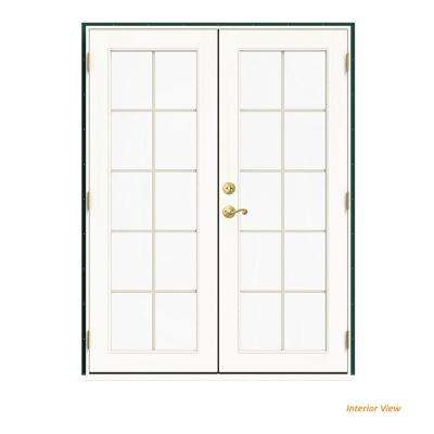 60 in. x 80 in. W-2500 Green Clad Wood Left-Hand 10 Lite French Patio Door w/White Paint Interior