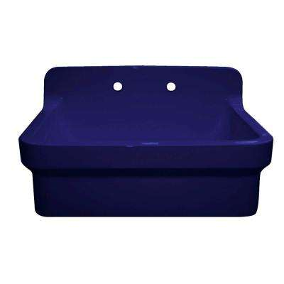 Old Fashioned Country Farmhouse Apron Front Fireclay 30 in. 2-Hole Single Bowl Kitchen Sink in Sapphire Blue