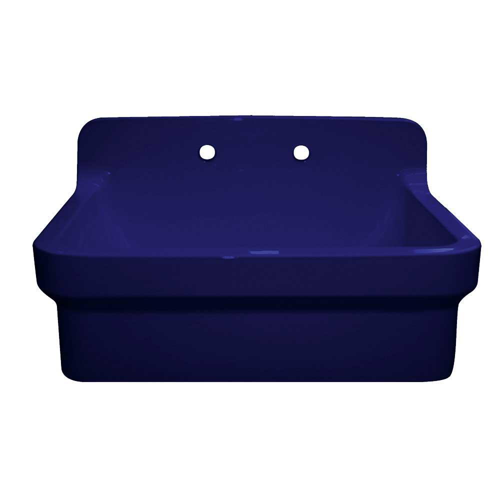 Whitehaus Collection Old Fashioned Country Farmhouse Apron Front Fireclay  30 in. 2-Hole Single Bowl Kitchen Sink in Sapphire Blue