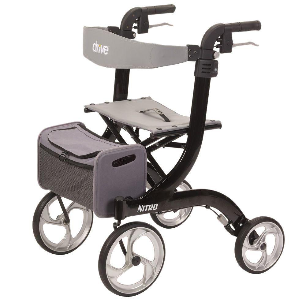 Drive Nitro Euro Style Black 4-Wheel Rollator Walker