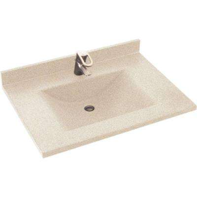 Contour 37 in. W x 22 in. D Solid Surface Vanity Top with Sink in Tahiti Desert
