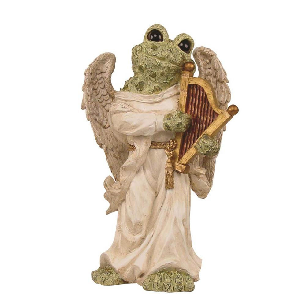Old World Standing Toad Angel With Harp