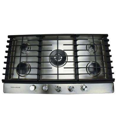 36 in. Gas Cooktop in Stainless Steel with 5 Burners Including a Tri-Ring Power Burner