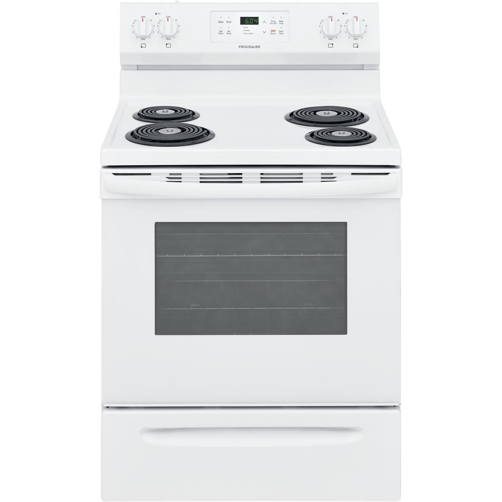 Frigidaire 30 In 5 3 Cu Ft Electric Range With Self Clean In White Ffef3016vw The Home Depot
