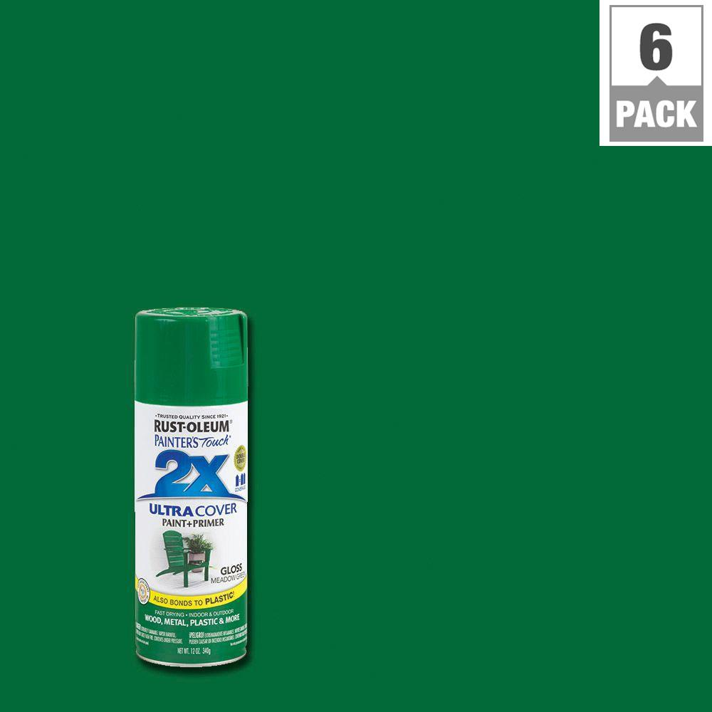Rust-Oleum Painter's Touch 2X 12 oz. Gloss Meadow Green General Purpose Spray Paint (6-Pack)
