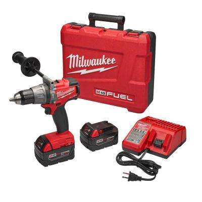 M18 FUEL 18-Volt Lithium-Ion Brushless Cordless 1/2 in. Hammer Drill/Driver w/ (2) 5.0Ah Batteries, Charger, Hard Case