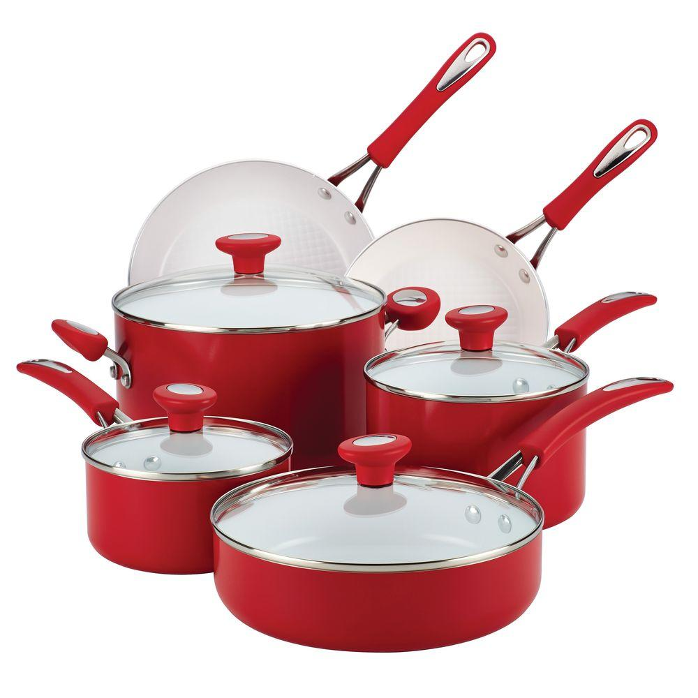 Ceramic Cxi 12 Piece Chili Red Cookware Set With Lids