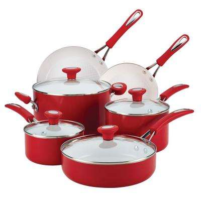 Ceramic Cxi 12-Piece Chili Red Cookware Set with Lids