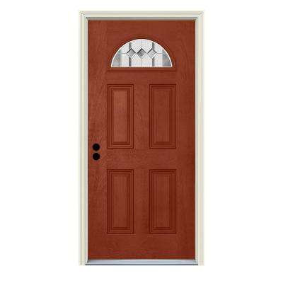 36 in. x 80 in. Right-Hand Fan-Lite Auburn Amaretto Stained Fiberglass Prehung Front Door with Brickmould