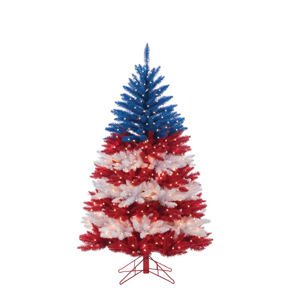 White Christmas Tree With Blue Lights.Sterling 5 Ft Patriotic American Artificial Christmas Tree In Red White And Blue With 495 Clear Lights