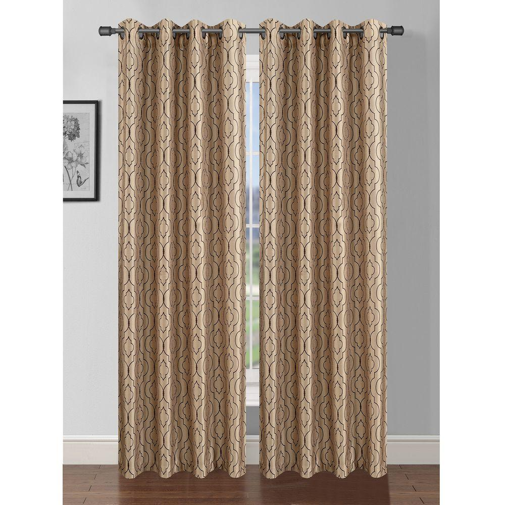 Window Elements Semi-Opaque Jasper Printed Faux Silk 84 in. L Grommet Curtain Panel Pair, Taupe/Chocolate (Set of 2)