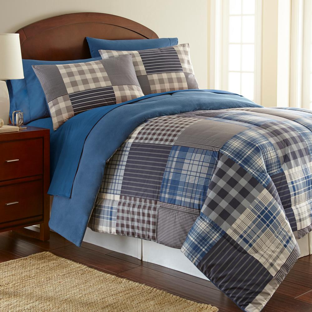 Micro flannel smokey mountain plaid full queen comforter