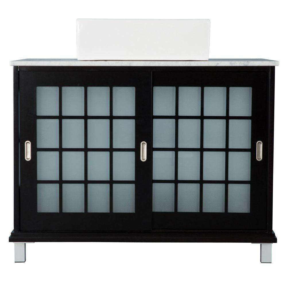 Zen 39 in. Bath Vanity in Espresso with Marble Vanity Top