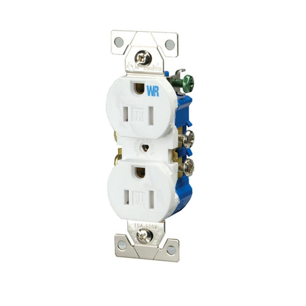 4 Electrical Outlets Receptacles Wiring Devices Light Home On A Switched Outlet Diagram 15 Amp 125 Volt Tamper And Weather Resistant Duplex White