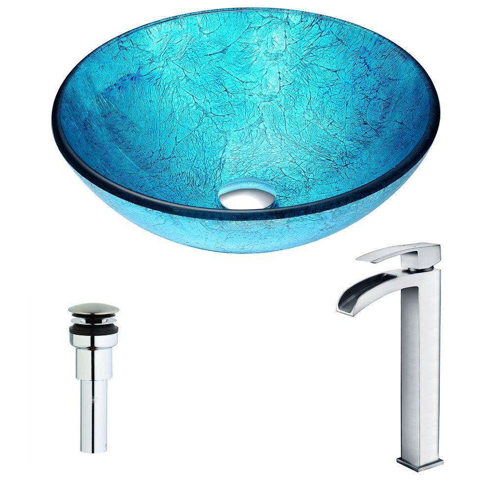 Accent Series Deco-Glass Vessel Sink in Emerald Ice with Key Faucet