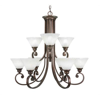 9-Light Bronze Chandelier with Gold Ice Glass Shade