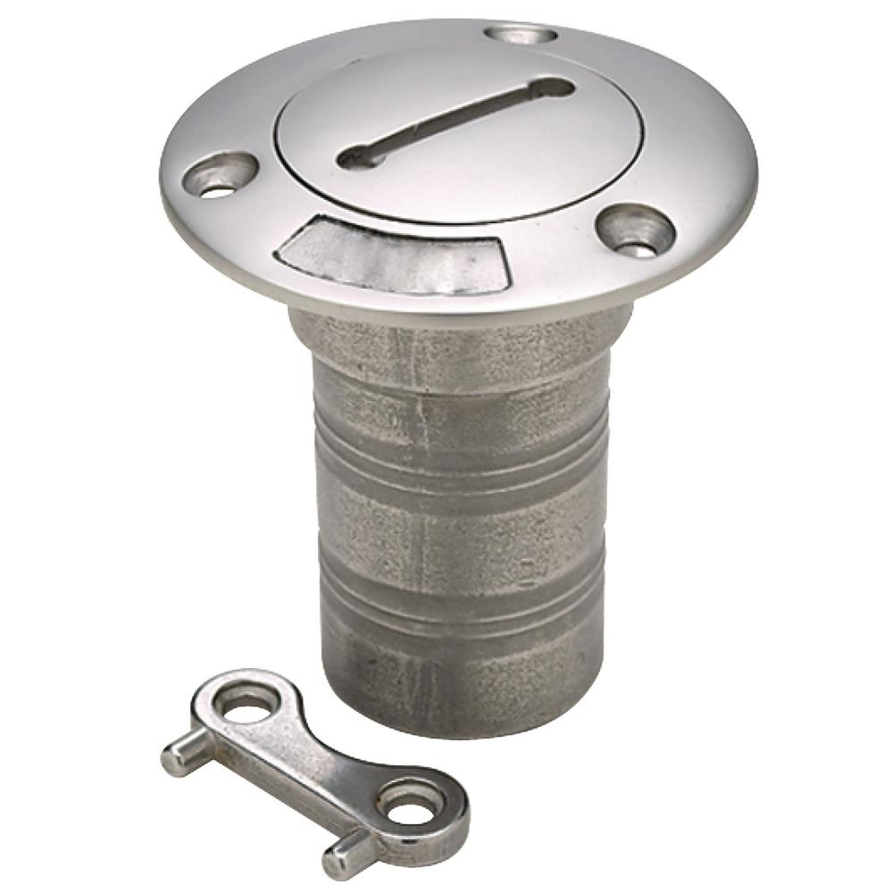 Seachoice Deck Water Fill With Cap (Chain Tether) For 1-1/2 in. Hose Cast stainless steel deck fill. Precision cast hose fills. Mount with #10 screws. 3 in. Flange width.