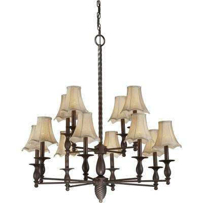 12-Light Antique Bronze Chandelier with Fabric Shades
