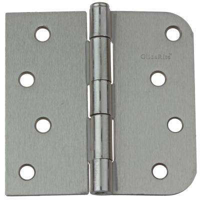 4 in. Satin Nickel Steel Door Hinge Square and 5/8 in. Corner Radius with Screws (12-Pack)