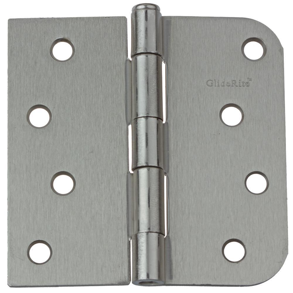 4 in. Satin Nickel Steel Door Hinges Square and 5/8 in. Corner Radius with Screws (24-Pack)