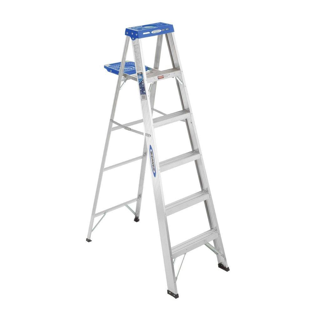 Werner 6 ft aluminum step ladder with 250 lb load for Escalera plegable homecenter
