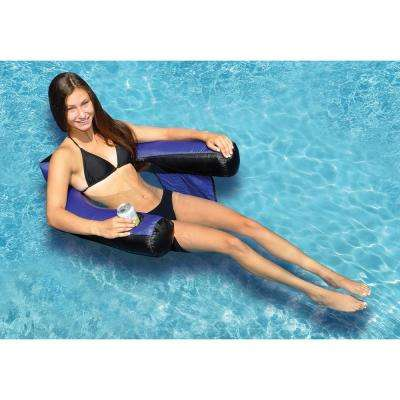 32 in. x 25 in. Blue/Black Nylon Fabric Covered U-Seat Pool Float