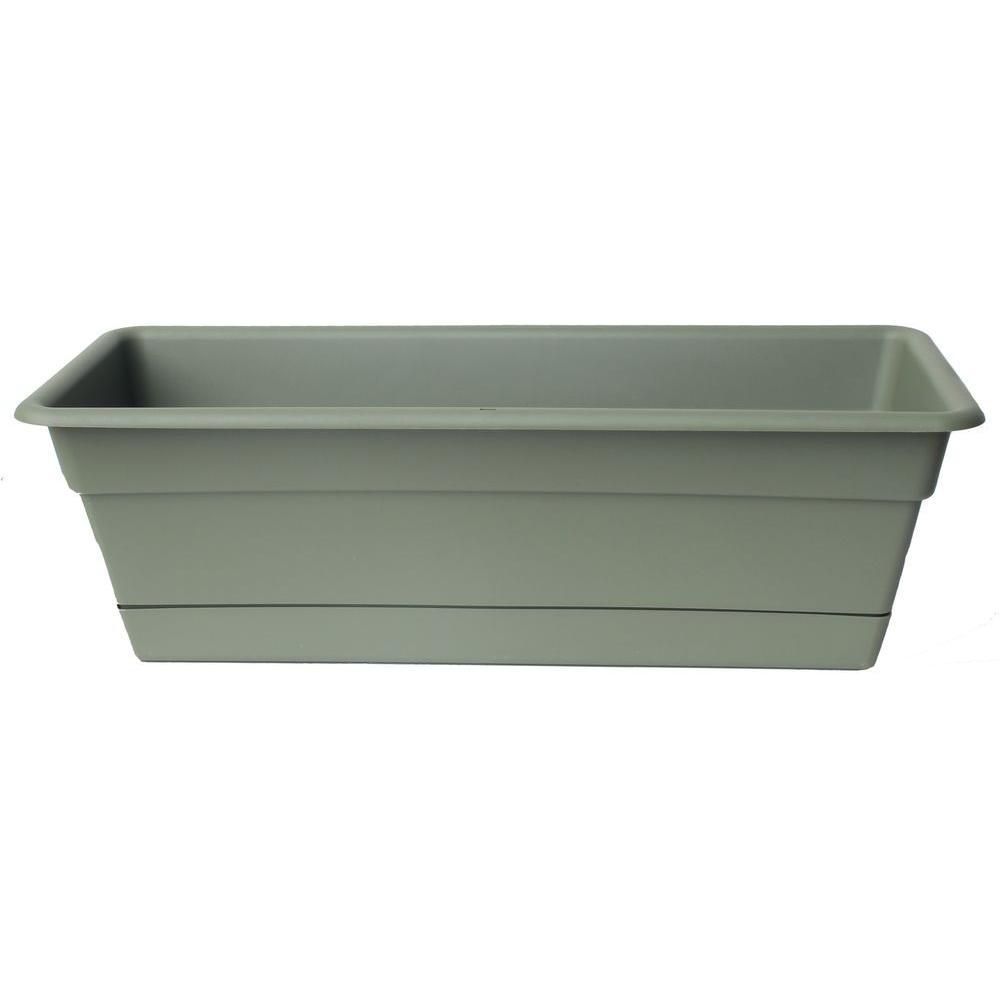 18 x 5.75 Living Green Dura Cotta Plastic Window Box Planter