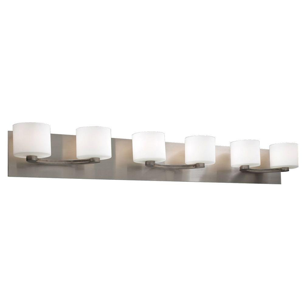 Plc lighting contemporary beauty 6 light satin nickel bath vanity plc lighting contemporary beauty 6 light satin nickel bath vanity light cli hd7616sn the home depot mozeypictures Gallery