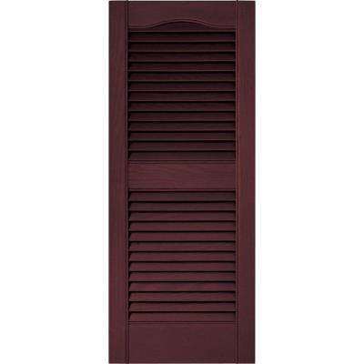 15 in. x 36 in. Louvered Vinyl Exterior Shutters Pair in #167 Bordeaux