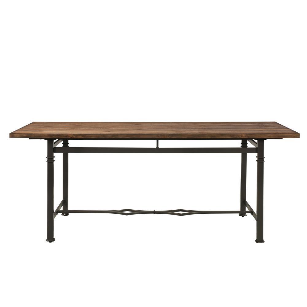 LynLee Weathered Dark Oak and Dark Bronze Dining Table