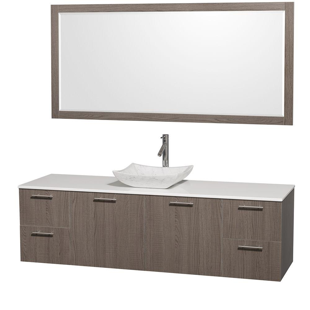 Wyndham Collection Amare 72 in. Vanity in Grey Oak with Man-Made Stone Vanity Top in White and Carrara Marble Sink