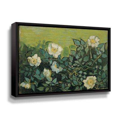 """Wild Roses"" by Vincent van Gogh Framed Canvas Wall Art"
