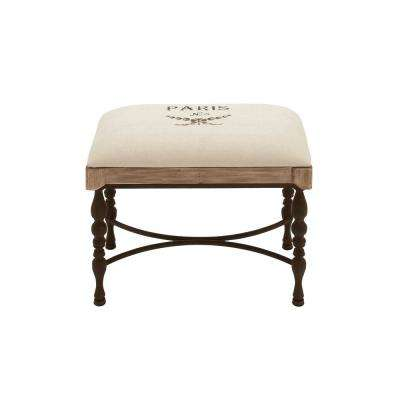 Ivory and Espresso Brown Accent Stool