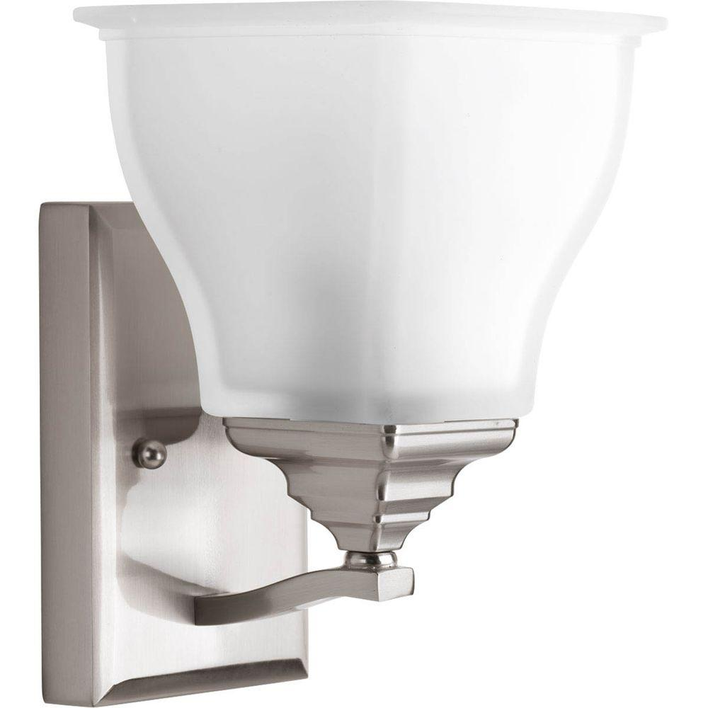 Home Decorators Collection Light Satin Nickel Bath Sconce With - Satin nickel bathroom sconces