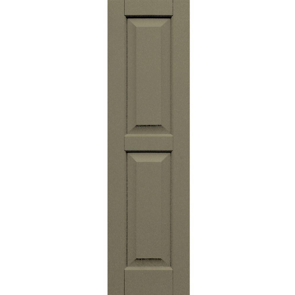 Winworks Wood Composite 12 in. x 44 in. Raised Panel Shutters Pair #660 Weathered Shingle