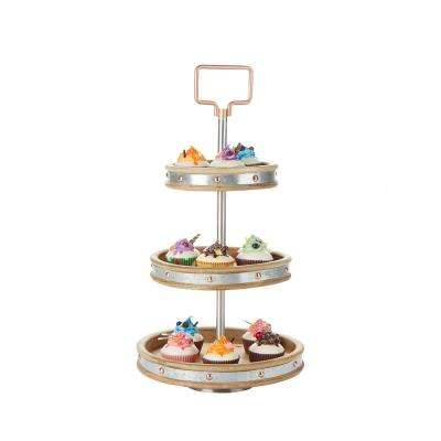 3-Tier Silver Cake Stand with Handle