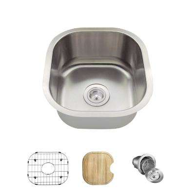 All-in-One Undermount Stainless Steel 16 in. Single Bowl Bar Sink