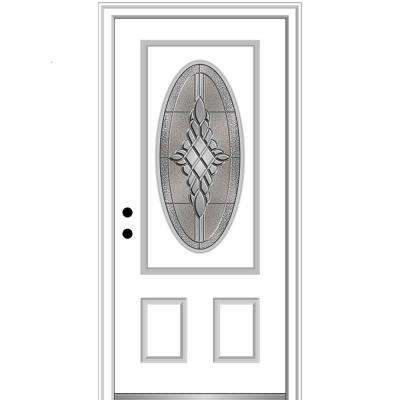 36 in. x 80 in. Grace Right-Hand Inswing Oval-Lite Decorative 2-Panel Primed Steel Prehung Front Door, 4-9/16 in. Frame