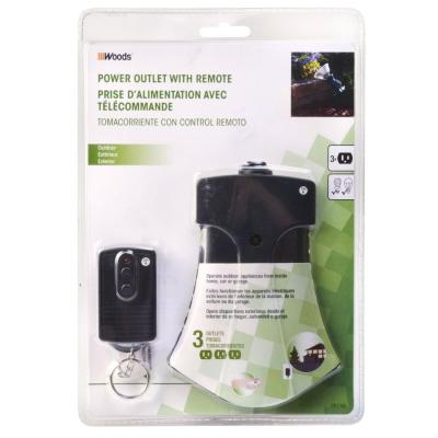 13 Amp Outdoor Plug-In Weatherproof Wireless Remote 3-Outlet Light Control, Black