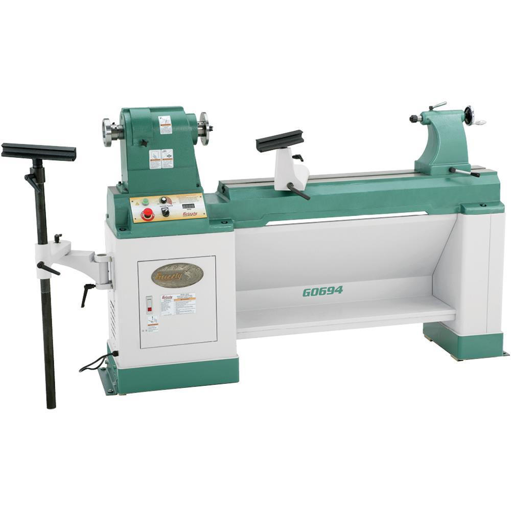 Grizzly Industrial 20 in  x 43 in  Heavy-Duty Variable-Speed Wood Lathe